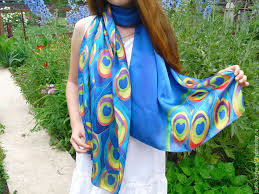buy batik scarf tippet peacock blue animal coloring silk scarf