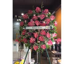 florist honolulu sympathy arrangement with pink anthurium in honolulu hi stanley