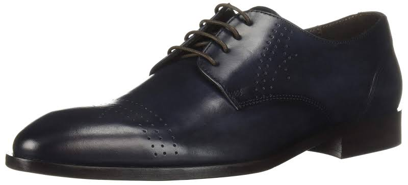 Bruno Magli Lugano BM600427 Blue Leather Dress Lace Up Oxfords Shoes