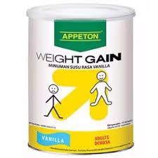 appeton weight gain adult vanilla 900 gr susu tinggi protein