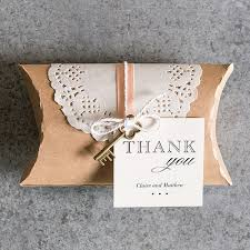 wedding favor box kraft favor box with lace wrapper the knot shop
