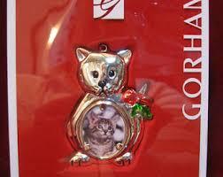 silver cat ornament etsy
