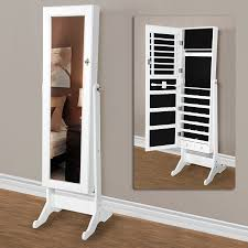 Wooden Jewelry Armoire Minimalist Bedroom With Full Length Mirror Jewelry Armoire Design