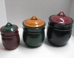 pottery canisters kitchen pottery canister etsy