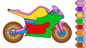 motorcycle coloring page drawing motorcycle learn colors for