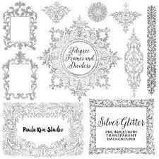 wedding invitation frame 75 sale silver glitter digital frame flourish clipart