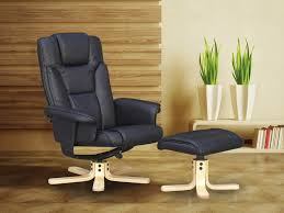 black faux leather recliner armchair with footstool