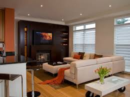 living room tv stand ideas brown fabric curtain natural stone wall