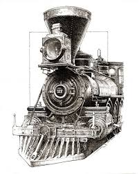 pen and ink drawing of antique steam engine pyrography
