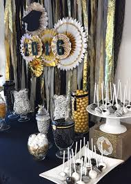 Black Table Centerpieces by Graduation Party Graduation Dessert Table Black White And Gold