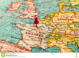 Paris France Map by Paris France Pinned On Vintage Map Of Europe Stock Photo 78865098