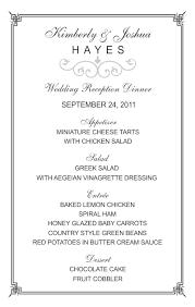 menu template wedding half sheet wedding menu template 2