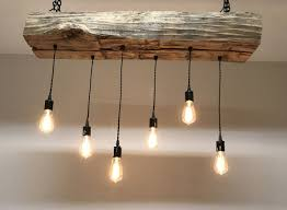 Edison Pendant Light Reclaimed Barn Sleeper Beam Wood Light Fixture With Led Edison