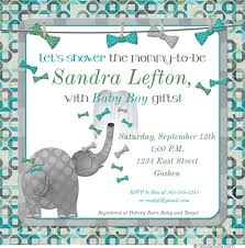 s shower invitations elephant baby shower invitations bow tie teal