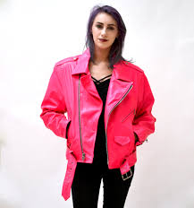 red leather motorcycle jacket vintage leather motorcycle jacket neon pink by l a roxx 90s