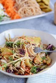 noodle salad recipes satay chicken noodle salad recipe mel s kitchen cafe