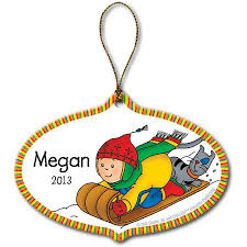 personalized caillou and gilbert sledding ornament