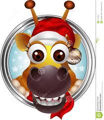 cute christmas giraffe head cartoon stock image image 27723821