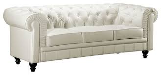 White Tufted Leather Sofa by White Leather Sofa White Button Tufted Leather Sofa With Rolled