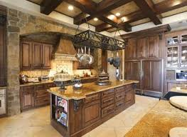 Mediterranean Kitchen - mediterranean kitchen with high ceiling simple granite counters