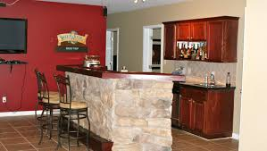 bar pictures of a simple counter bar in small with red wall and