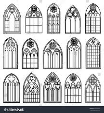 set design gothic window frames black stock vector 247866553 set of design gothic window frames black silhouettes on the white background