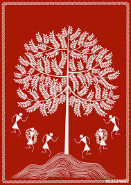 the tree ancient indian tribal warli stock