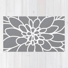 Area Rug Modern Modern Dahlia Flower Rug Area Rug Slate Grey And White