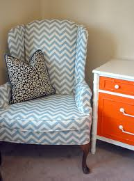 Furniture Single Sofa With Chevron Blue And White Wingback Chair - Single chairs living room