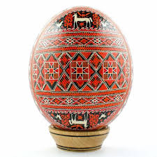 blown easter eggs geometric real ostrich blown painted ukrainian easter egg pysanky