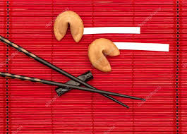 new year s fortune cookies fortune cookies and black chopsticks new year stock