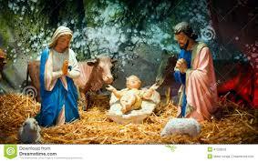 christmas nativity scene with baby jesus mary u0026 joseph stock