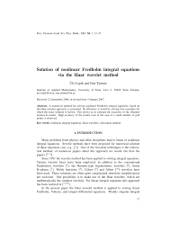 solution of nonlinear fredholm integral equation via the haar