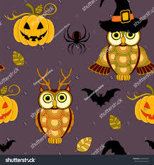 owl halloween background seamless halloween pattern pumpkin owls on stock vector 494233435