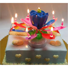 lotus birthday candle 13 parttens electronic candle layer rotating musical