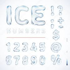 alphabet ice translucent symbols numbers form color