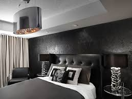 bedroom ideas dark wallpapered feature wall with black and