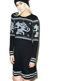 sourpuss clothing krampus fair isle sweater dress dolls