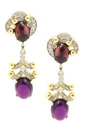 purple drop earrings 1950s jomaz purple drop earrings house of lavande