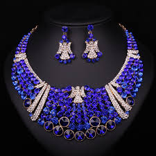 blue crystal necklace set images Royal blue crystal rhinestone wedding bridal evening party jewelry jpg