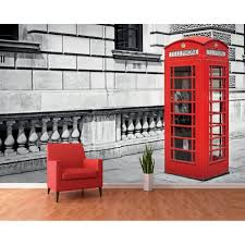 black and white iconic red london phone box wall mural 366cm x 232cm black and white iconic red london phone box wall mural 366cm x 253cm