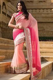 baby pink stone worked net u0026 georgette combo designer saree online