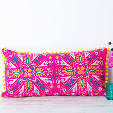 Bolster Cushion Pad Embroidered Suzani Pink Bolster Cushion Handmade Cushions