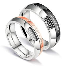 couple rings titanium images 2 pieces gift for husband wife his and her anniversary wedding jpg