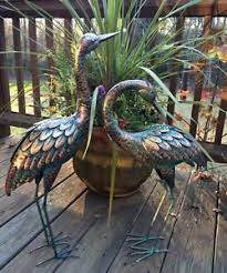 copper patina crane pair metal garden decor statues bird yard