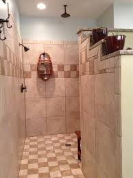 walk in shower no door no steps light and open with two shower
