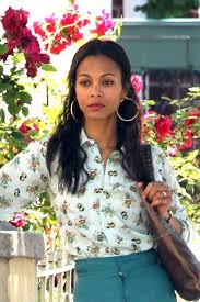 70 s earrings zoe saldana shoots blue ties in nyc 2 zimbio