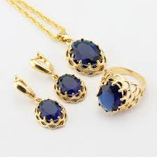 blue stones necklace images Wpaitkys dark blue stones gold color bridal jewelry sets for women jpg
