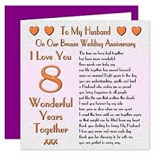 8th wedding anniversary my husband 8th wedding anniversary card on our bronze anniversary