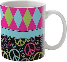 harlequin u0026 peace signs coffee mug personalized baby n toddler